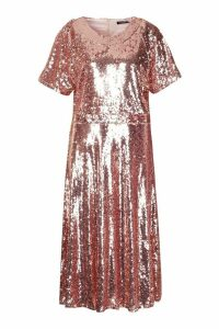 Womens Plus Sequin Midi Smock Dress - pink - 18, Pink