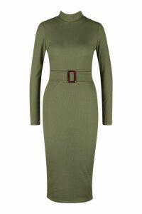 Womens Rib High Neck Buckle Waist Midi Dress - green - 16, Green