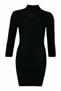 Womens Roll Neck Knitted Mini Jumper Dress - black - M, Black