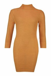 Womens Roll Neck Knitted Mini Jumper Dress - beige - M, Beige