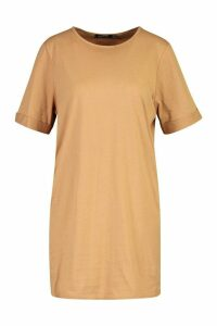 Womens Cotton Roll Sleeve T-Shirt Dress - beige - 14, Beige