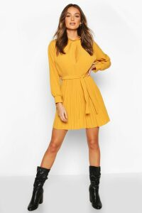 Womens Pleated High Neck Tie Waist Shift Dress - yellow - 14, Yellow