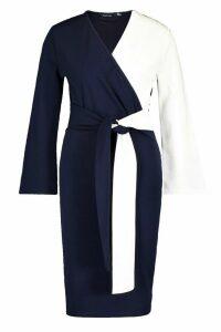 Womens Contrast Colour Block Wrap Midi Dress - navy - 10, Navy