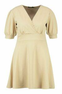 Womens Plus Puff Sleeve Skater Dress - beige - 20, Beige