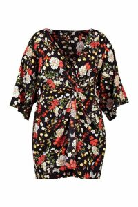 Womens Plus Floral Knot Front Shift Dress - black - 20, Black