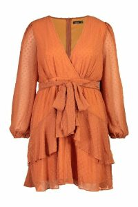 Womens Plus Ruffle Hem Dobby Mesh Skater Dress - orange - 18, Orange