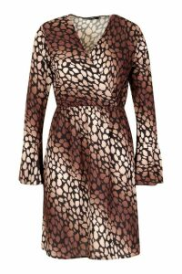 Womens Leopard Print Flared Sleeve Tea Dress - brown - 16, Brown
