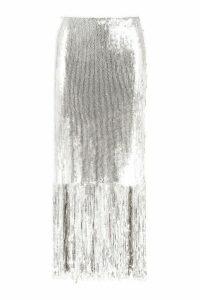 Womens Sequin Tassel Midi Skirt - grey - 10, Grey