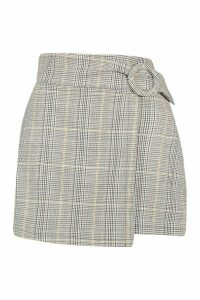 Womens Petite Check Buckle Detail Wrap Front Skirt - grey - 14, Grey