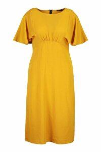 Womens Plus Ruffle Angel Sleeve Midi Dress - yellow - 26, Yellow