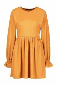 Womens Recycled Ruffle Sleeve Rib Smock Dress - brown - 16, Brown