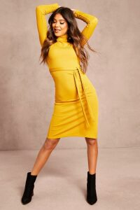 Womens Recycled Roll Neck Belted Rib Midi Dress - yellow - 14, Yellow