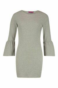 Womens Rib Flare Sleeve Midi Dress - grey - 14, Grey