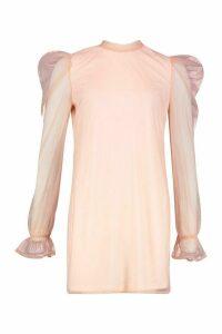 Womens Organza Sleeve High Neck Shift Dress - Pink - 16, Pink