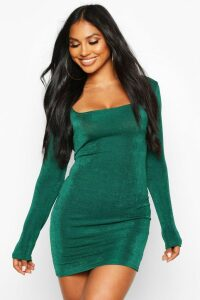 Womens Slinky Square Neck Long Sleeve Mini Dress - green - 14, Green