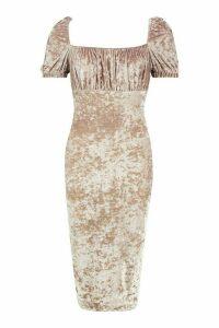 Womens Off The Shoulder Puff Sleeve Velvet Midi Dress - beige - 16, Beige