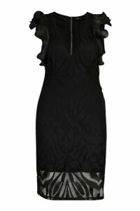 Womens Plus Structured Ruffle Lace Midi Dress - black - 20, Black