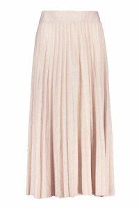 Womens Metallic Pleated Midi Skirt - pink - L, Pink