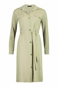 Womens Utility Wrap Over Woven Shift Midi Dress - green - 14, Green
