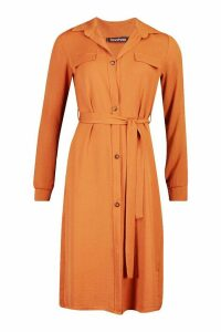 Womens Utility Wrap Over Woven Shift Midi Dress - orange - 14, Orange