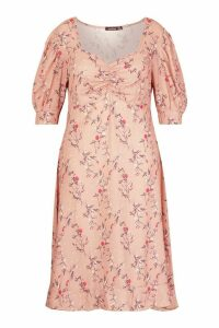 Womens Plus Floral Ruched Detail Midi Dress - pink - 24, Pink