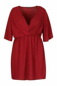 Womens Plus Angel Sleeve Smock Dress - red - 26, Red