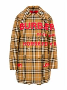 Burberry London Oversized Pea Coat With Feather Padding And Horseferry Print