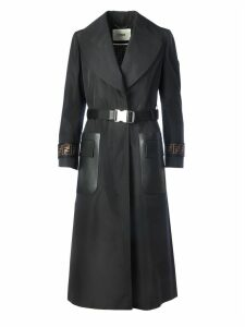 Fendi Coat With Side Pockets In Leather