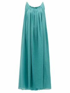 Loup Charmant - Gathered Scoop-back Cotton-poplin Maxi Dress - Womens - Blue