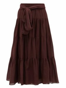 Loup Charmant - Demeter Tiered Cotton Midi Skirt - Womens - Dark Purple