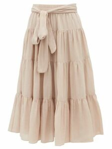 Loup Charmant - Demeter Tiered Cotton Poplin Midi Skirt - Womens - Light Pink