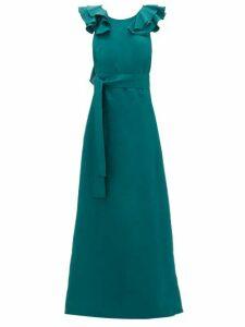 Kalita - Eros Shoulder-ruffle Linen Maxidress - Womens - Dark Green