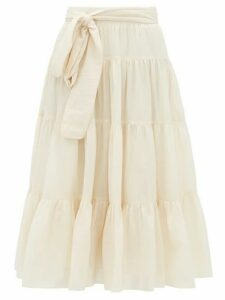 Loup Charmant - Demeter Tiered Cotton Midi Skirt - Womens - Ivory