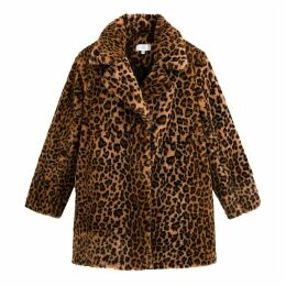 Faux Leopard Fur Coat with Pockets