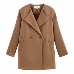 Straight Cut Short Coat with Pockets and Double-Breasted Buttons