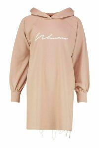 Womens Woman Signature Oversized Hoodie Dress - beige - 16, Beige