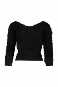 Womens Knot Back Feather Knit Jumper - black - M/L, Black
