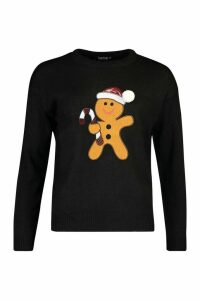 Womens Sequin Detail Gingerbread Man Christmas Jumper - black - M, Black