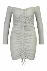 Womens Plus Soft Rib Ruched Bardot Midi Dress - grey - 26, Grey
