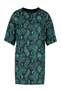 Womens Snake Print T-Shirt Dress - green - 16, Green