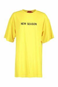 Womens New Season Embroidered Cotton T Shirt Dress - yellow - 16, Yellow