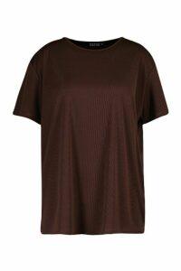 Womens Plus Rib Knit Crew Neck Longline Top - brown - 22, Brown