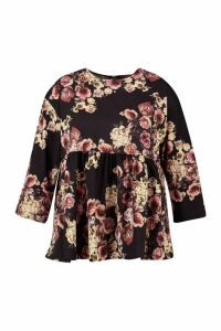 Womens Plus Floral Print Smock Top - black - 18, Black