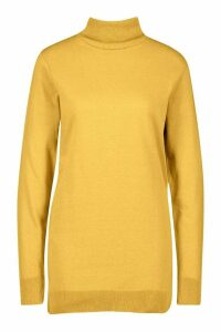 Womens Recycled Roll Neck Jumper Dress - yellow - 6/8, Yellow