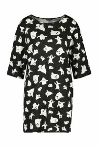 Womens Halloween Ghost Print T-Shirt Dress - black - 12, Black
