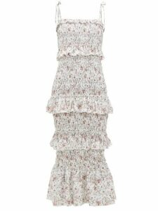 Sir - Haisley Floral-print Shirred Linen Dress - Womens - Ivory Multi