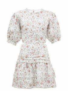 Sir - Haisley Floral-print Laced-back Linen Mini Dress - Womens - Ivory Multi