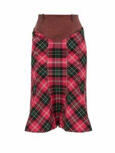 Marine Serre - Fluted Hem Denim And Tartan Pencil Skirt - Womens - Pink Multi