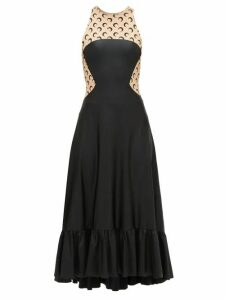 Marine Serre - Crescent Moon Print Sleeveless Dress - Womens - Black Beige