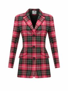 Marine Serre - Single Breasted Tartan Blazer - Womens - Pink Multi